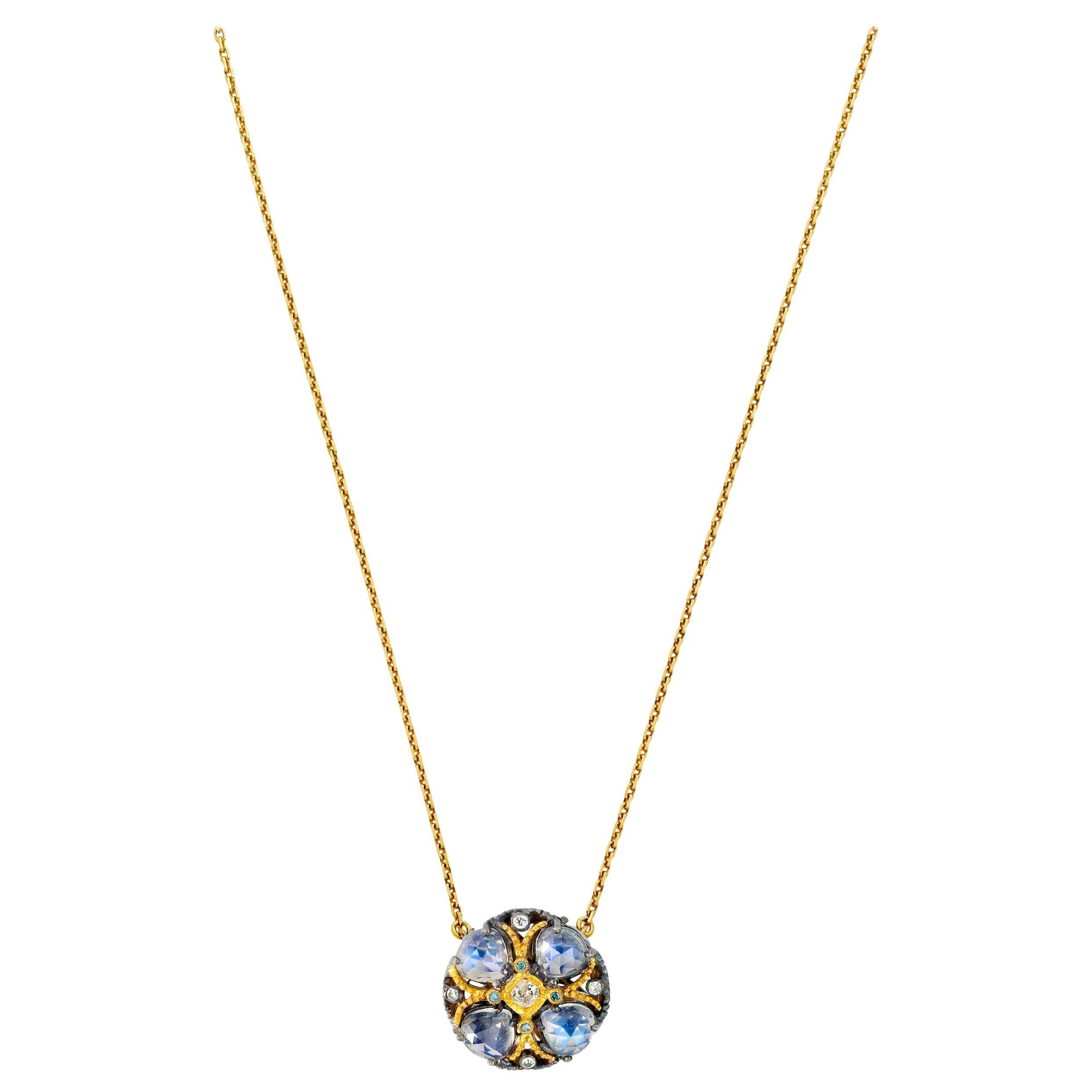 Suneera Moonstone Diamond Blackened Silver and 18 Karat Gold Pendant Necklace