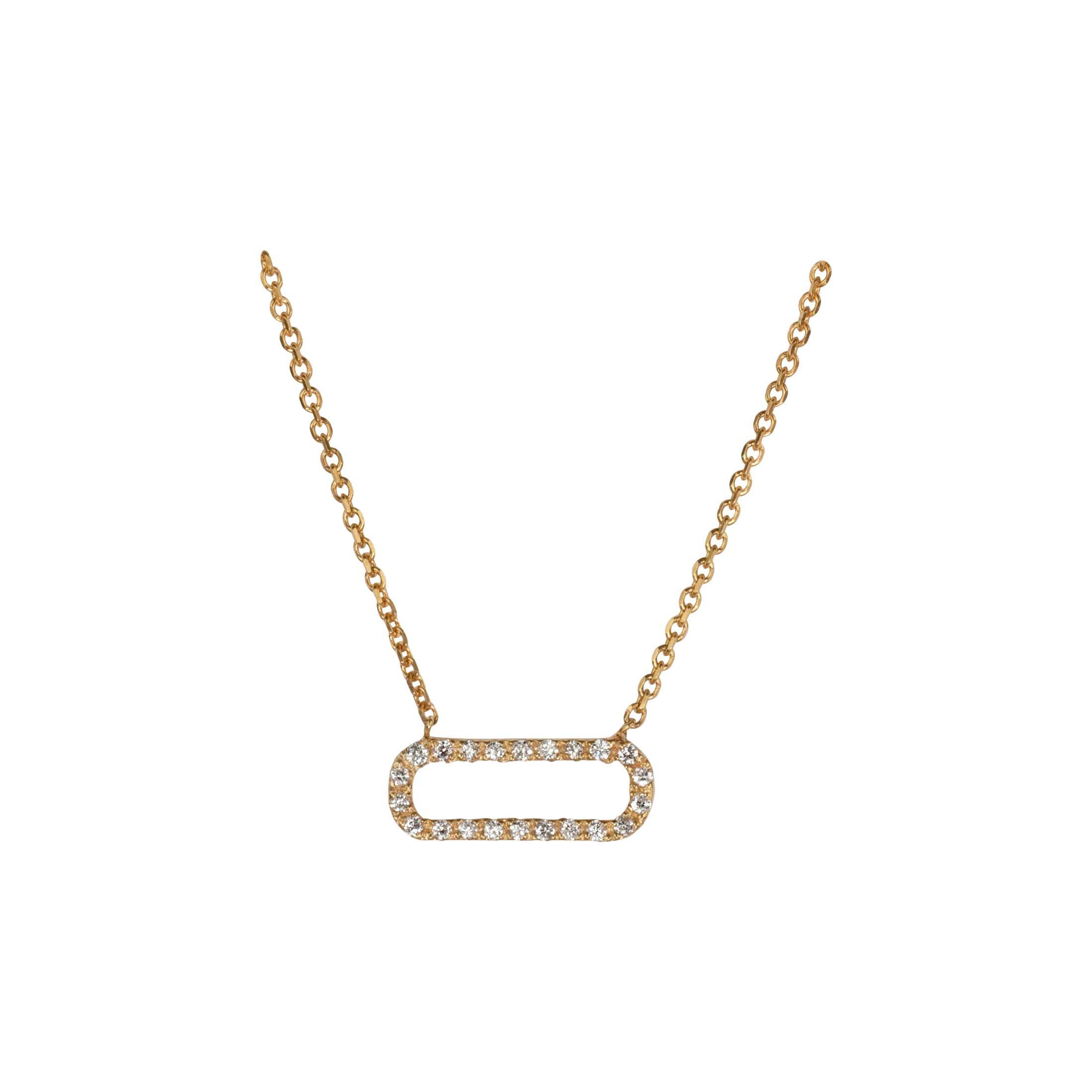 Suneera Open Circle Diamond and 14 Karat Yellow Gold Necklace