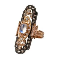 Suneera Rainbow Moonstone 18 Karat Gold and Blackened Silver Ring
