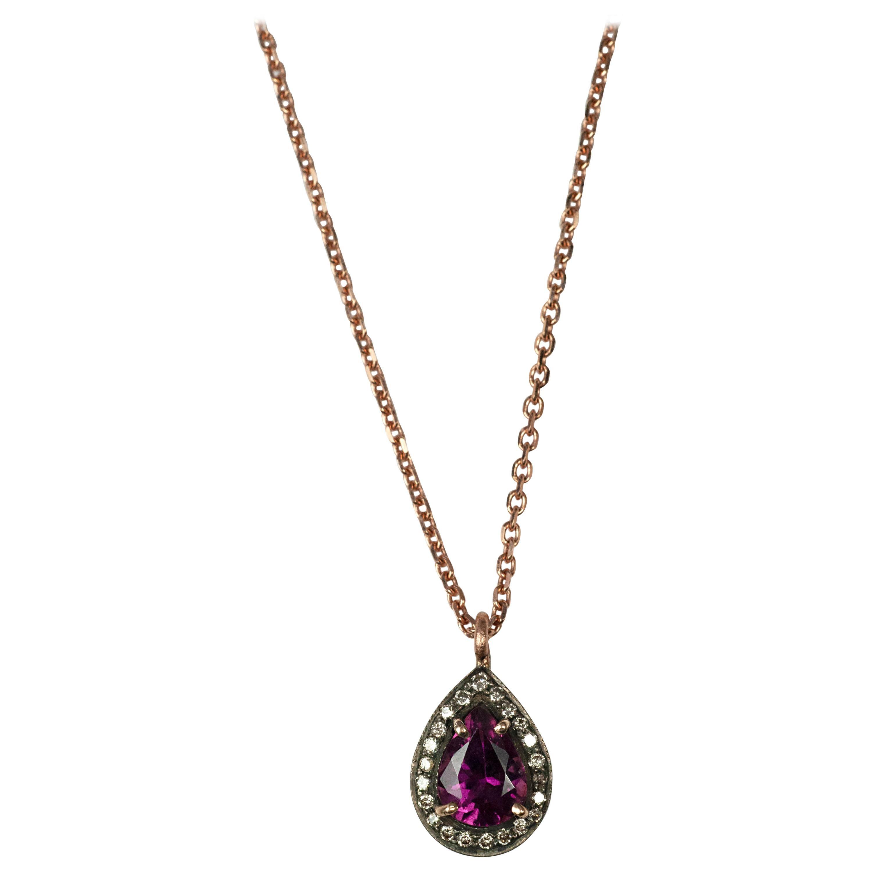 Suneera Rhodonite Garnet Briolette & Diamond Rose Gold Pendant Necklace