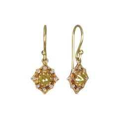 Suneera Rose Cut Diamond and 18 Karat Yellow Gold Earrings