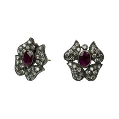 Suneera Ruby and Diamond Sterling Silver and 18 Karat Gold Flower Studs