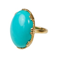 Suneera Sleeping Beauty Turquoise Cabochon 18 Karat Gold Ring