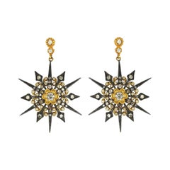 Suneera Unique Starlight Diamond Silver and 18 Karat Yellow Gold Earrings