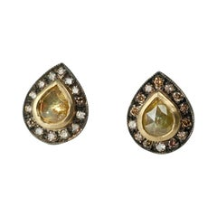 Suneera Yellow Rose Cut Diamond Blackened Silver 18 Karat Studs