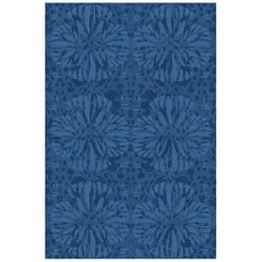 Sunflower Custom Made Hand Knotted Midnight Blue Wool Rug by Allegra Hicks