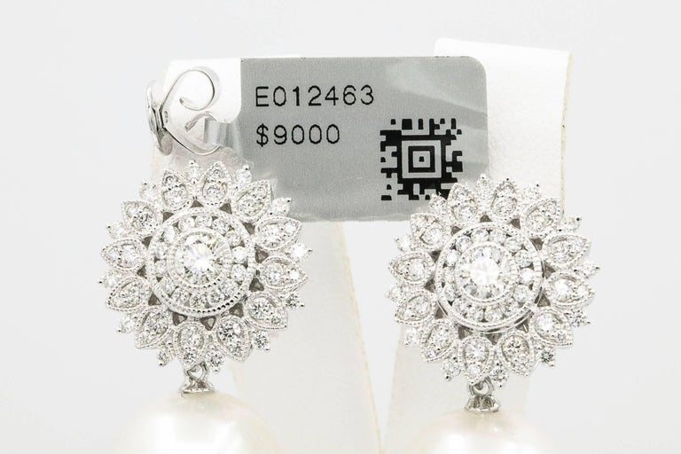 Sunflower Diamond Setting with South Sea Pearl Dangle Arrings For Sale 1