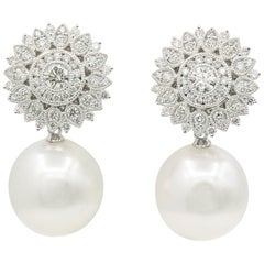 Diamond Sunflower with South Sea Pearl Drop Earrings 1.35 Carats 18K