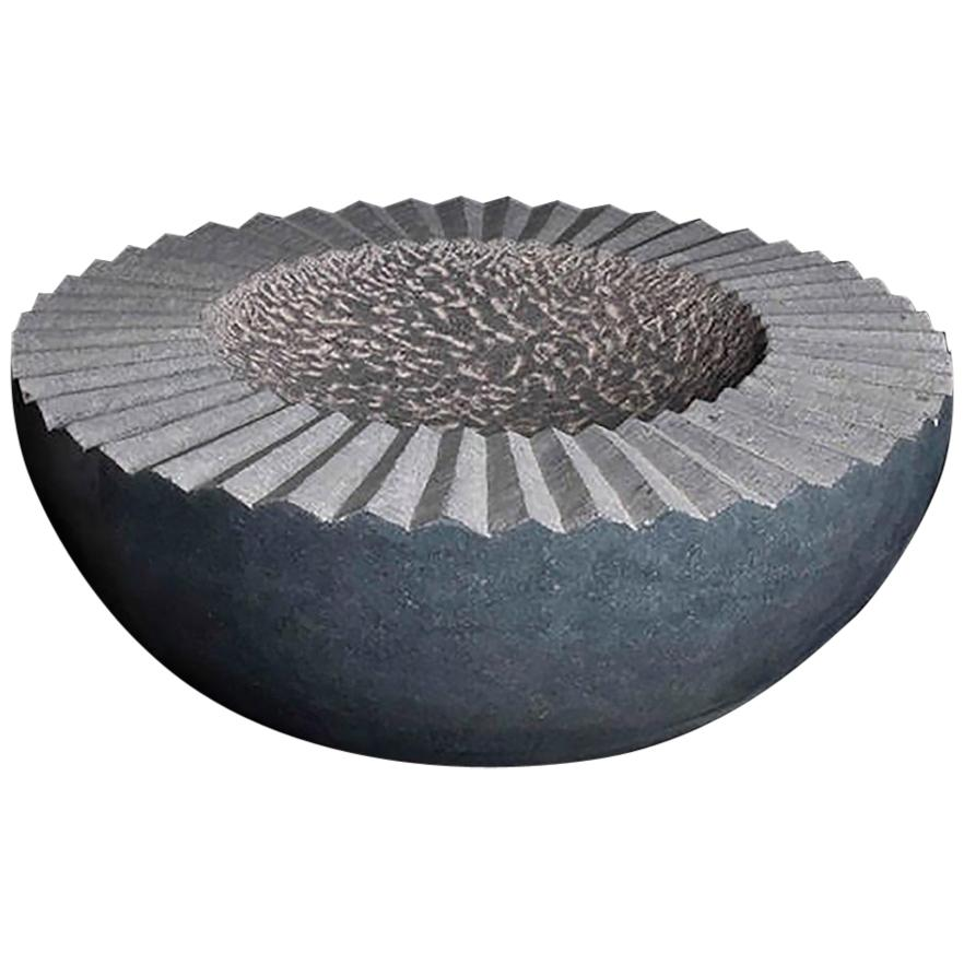 """Sunflower Vessel"" Grey and White Limestone Sculpture by Artist Helen O'Connell"