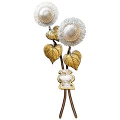 Sunflower Wall Light by Maison Baguès, Bronze and Crystal, 20th Century