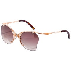 Sunglasses Rose Gold White & Brown Diamonds Brown Hand Decorated Micromosaic