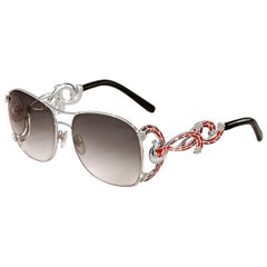 Sunglasses White Gold White and Black Diamonds Hand Decorated with Micro Mosaic