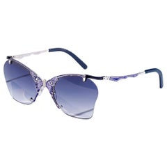 Sunglasses White Gold White White Diamonds Hand Decorated with Micromosaic
