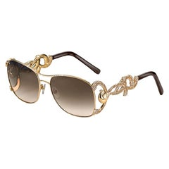 Sunglasses Yellow Gold White and Black Diamonds Handdecorated with MicroMosaic