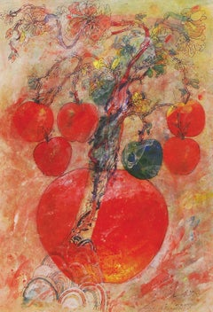 "Apples, Mixed Media on Paper, Red, Green,Blue, Yellow by Indian Artist""In Stock"""