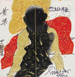 "Chinese Man, Mixed Media on Paper, Red, Golden, Black by Master Artist""In Stock"""