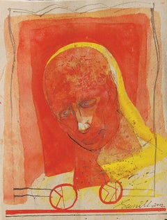 "Head I, Mixed Media on Board, Red, Yellow by Indian Padma Shree Artist""In Stock"""