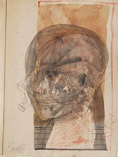 "Head II, Mixed Media on Board, Brown, Black by Master Indian Artist ""In Stock"""