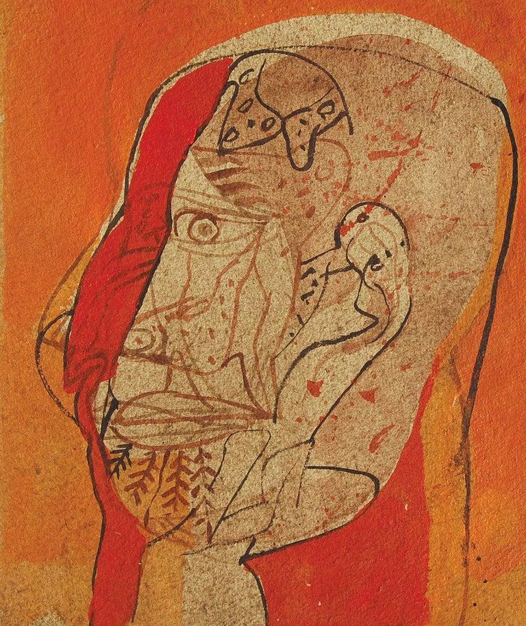 Head III, Mixed Media on Board, Red, Brown, Black by Sunil Das