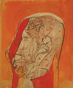 "Head III, Mixed Media on Board, Red, Brown, Black by Sunil Das ""In Stock"""