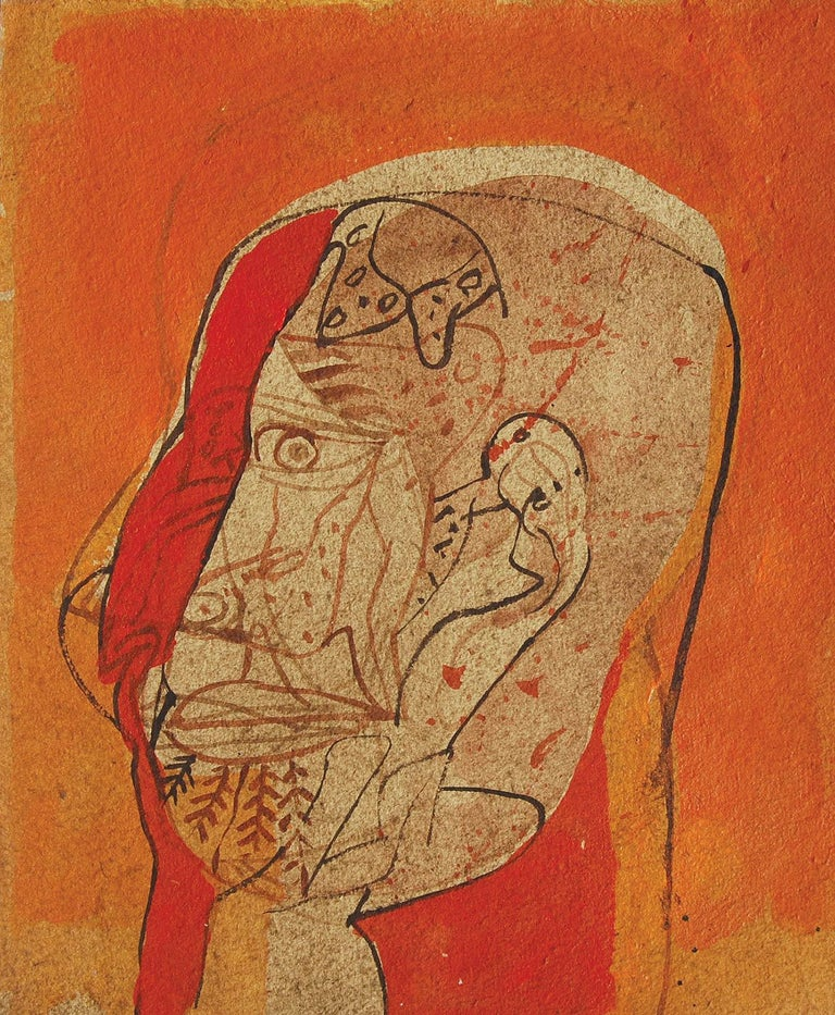 Sunil Das - Head III - 13 x 11 inches (unframed size) Mixed Media on Board Inclusive of shipment in ready to hang form.  Sunil Das (1939-2015) was a Master Modern Indian Artist from Bengal. Extremely successful right from his college days, Sunil Das