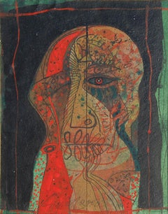"Head IV, Mixed Media on Board, Red, Green, Blue, Black by Sunil Das ""In Stock"""