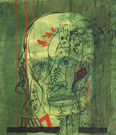 "Head V, Mixed Media on Board, Green, Red, Black by Padma Shree Artist ""In Stock"""