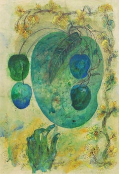 "Mangoes, Mixed Media on Paper, Green, Blue, Yellow by Artist Sunil Das""In Stock"""