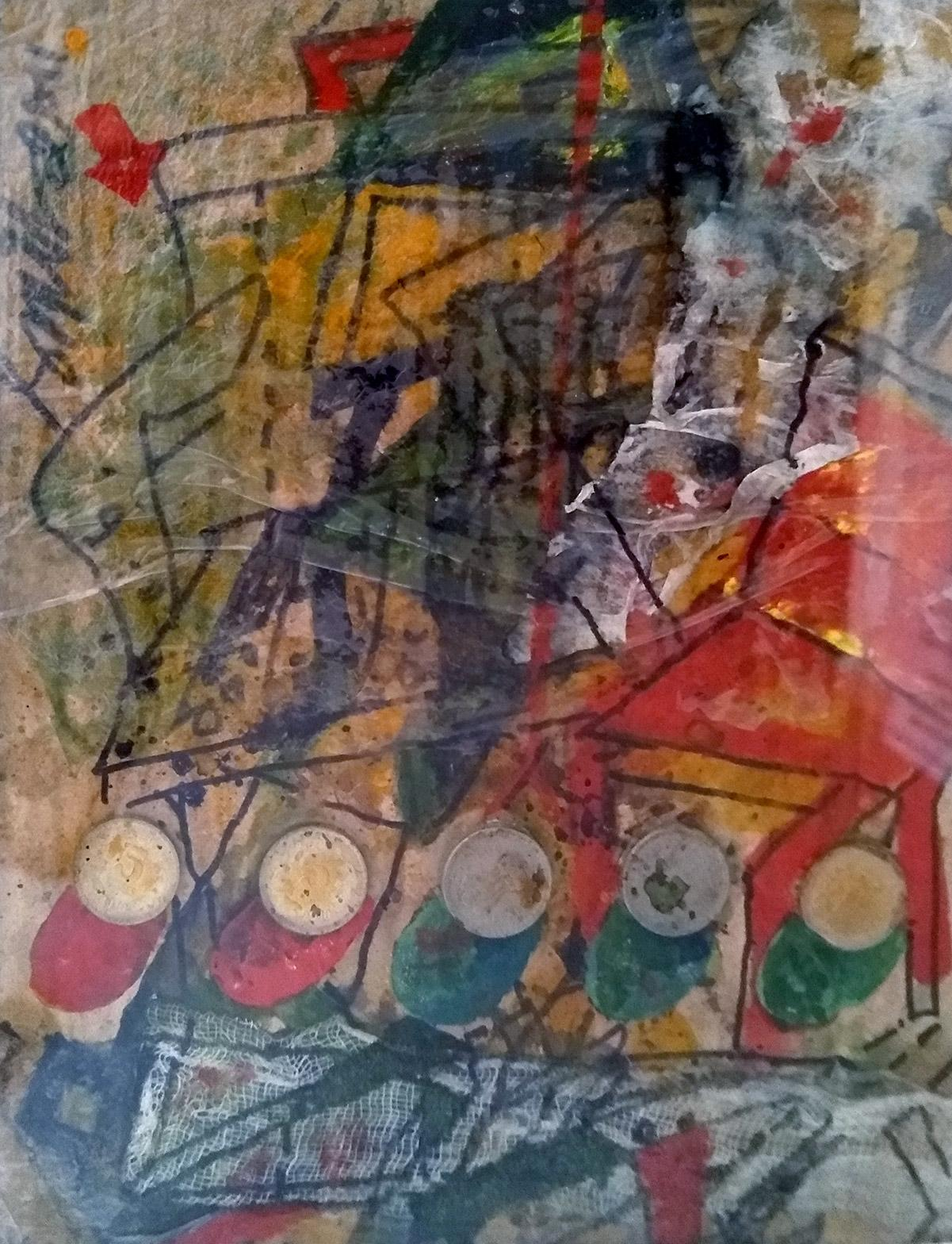 """Unique, Acrylic, Coins, on Board, Red and Green Color by  Sunil Das """"In Stock"""""""