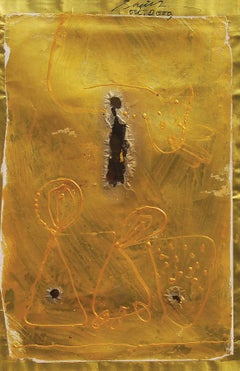 "Abstract, Acrylic Relief, Mixed Media, Gold, Black by Indian Artist ""In Stock"""