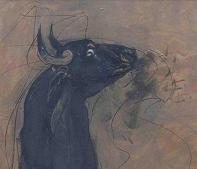Bull , Charcoal, Oil on Board, Black, Brown, Grey Color by Sunil Das