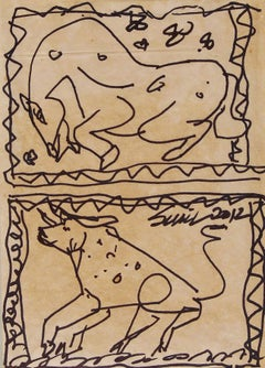 "Bull & Horse Drawing, Pen & Ink on Paper, Black by Artist Sunil Das ""In Stock"""
