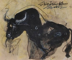Bull II, Charcoal, Acrylic, Mixed Media by PadmaShree Artist Sunil Das