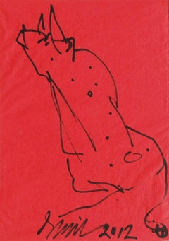"Bull, Ink on Coloured Paper, Red, Black by PadmaShree Artist Sunil Das""In Stock"""