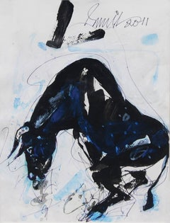 "Bull, Mixed Media on paper, Blue, Black, White by Modern Indian Artist""In Stock"""