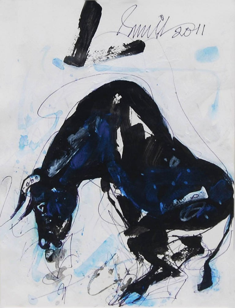 Sunil Das - Bull - 12 x 9.25 inches (unframed size) Mixed Media on Paper Inclusive of shipment in ready to hang form.  But Sunil has added details to make it look unlike the face of the well-known animal-headed Hindu god. The  other two drawings,