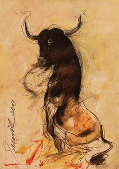 """Bull, Mixed Media on Paper by Indian Artist Sunil Das """"In Stock"""""""