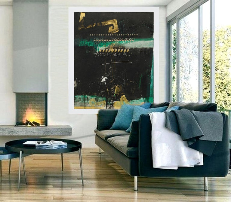 Abstract Art, Oil, Acrylic, Coins on Canvas, Green, Black, Gold colors