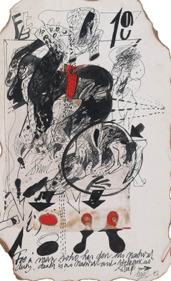"""Collage based Drawings, Bull, Mixed Media on Board, Red, Black """"In Stock"""""""