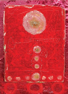 "Collage Series VI, Mixed Media, Paper, Foil, Acrylic, Red, Pink ""In Stock"""