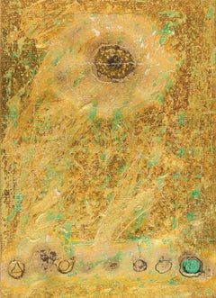 "Collage Series VII, Mixed Media, Paper, Foil, Acrylic, Yellow, Green ""In Stock"""