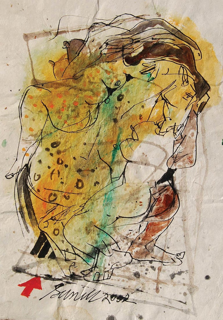 """Sunil Das Figurative Painting - Colour based Drawings II, Acrylic, Watercolor, Pen, Ink, Yellow, Green""""In Stock"""""""