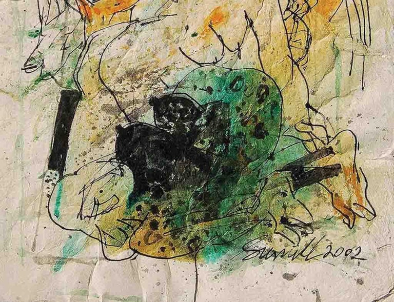 Colour based Drawings III, Acrylic, Watercolor, Pen,Ink, Brown, Green