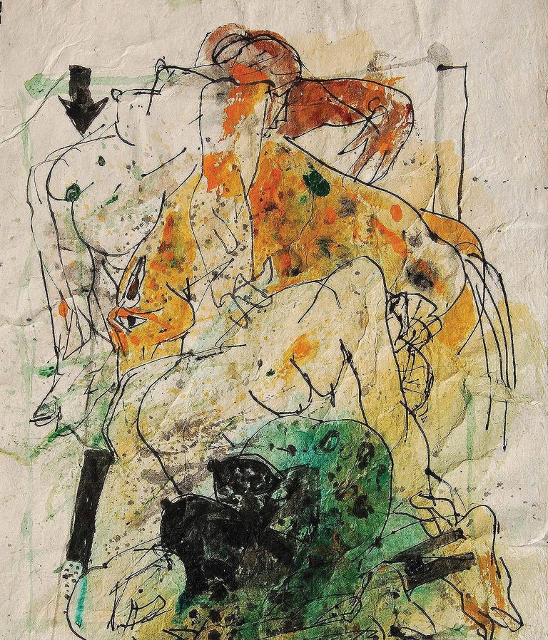 Sunil Das - Colour based Drawings III - 13.5 x 9.5 inches (unframed size) Acrylic, Watercolor, Pen & Ink on Handmade Paper Inclusive of shipment in ready to hang form.  Sunil Das (1939-2015) was a Master Modern Indian Artist from Bengal. Extremely