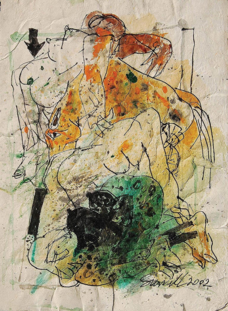"""Sunil Das Figurative Painting - Colour based Drawings III, Acrylic, Watercolor, Pen,Ink, Brown, Green""""In Stock"""""""