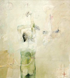 "Confrontation Series, Oil on Canvas, Nude, Green by Indian Artist ""In Stock"""
