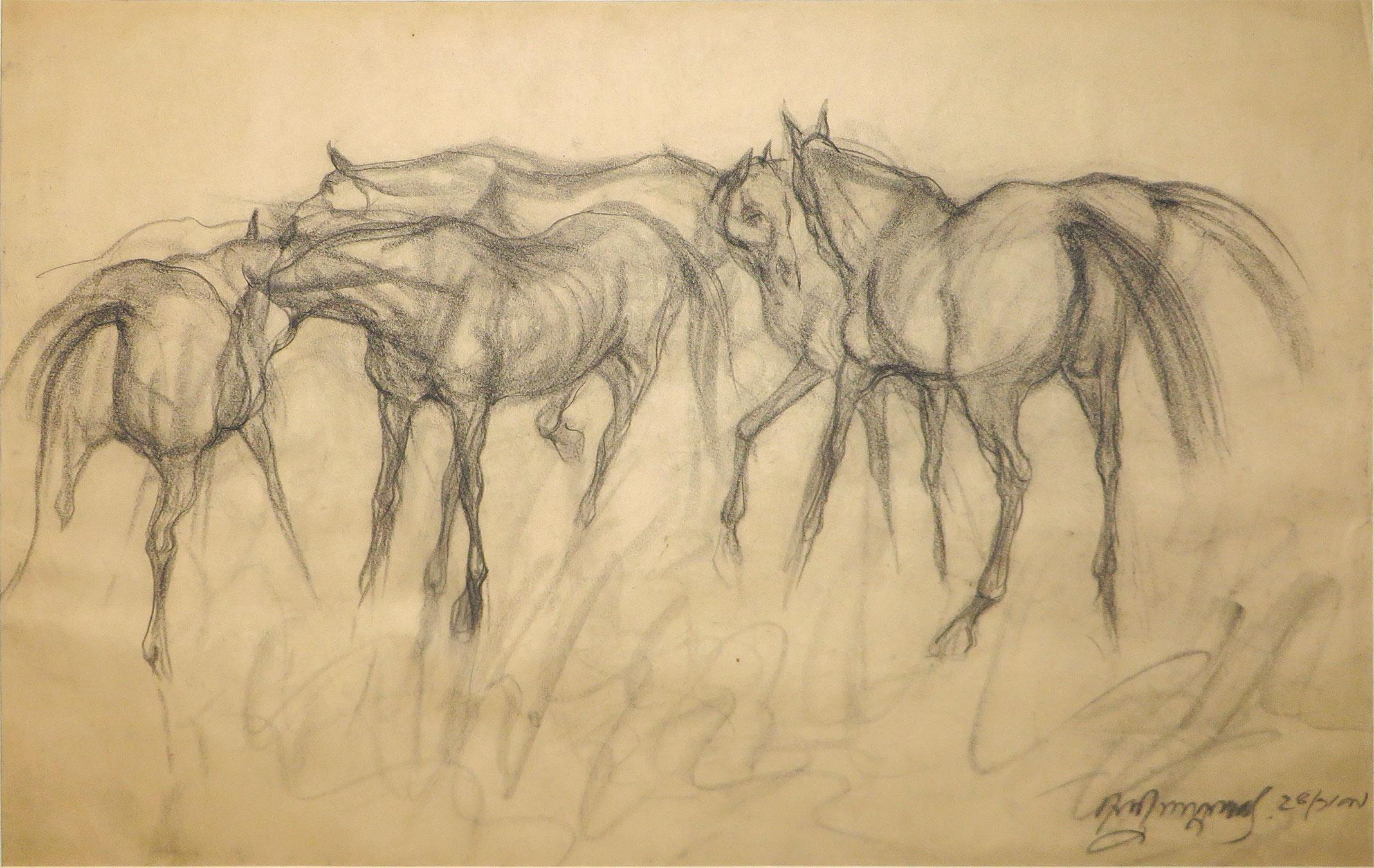 """Early Horses, Charcoal on Paper by Indian Artist Sunil Das """"In Stock"""""""