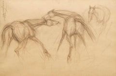 "Early Horses I, Conte on Paper by PadmaShree Artist Sunil Das ""In Stock"""