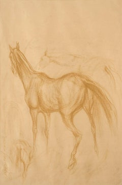 "Early Horses III, Drawing, Brown, Conte on Paper by Indian Artist ""In Stock"""