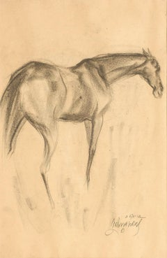 """Early Horses IV, Drawing, Charcoal on Paper, Black by Sunil Das """"In Stock"""""""